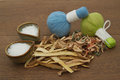 Herbal compress ball for spa aroma treatment Royalty Free Stock Images
