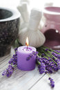 Herbal compress balls for spa treatment and lavender beauty treatment Royalty Free Stock Image