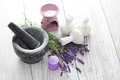Herbal compress balls for spa treatment and lavender beauty treatment Royalty Free Stock Photography