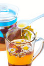 Herbal floral tea with drop of honey Royalty Free Stock Photo