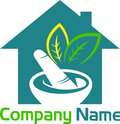 Herbal home logo illustration art of a with isolated background Royalty Free Stock Photos
