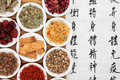 Herbal medicine chinese selection with mandarin calligraphy script translation describes the functions to increase the bodys Royalty Free Stock Image