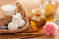Herbal and oil treatment equipment in relaxing spa setting Royalty Free Stock Photos