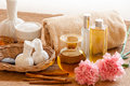 Herbal and oil treatment equipment in relaxing spa setting Royalty Free Stock Image