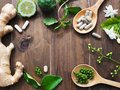 Herbal pills in wooden spoon and herbs Royalty Free Stock Photo