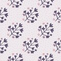 Herbal seamless pattern with floral purple ornament. Light lilac bakground with dots. Creative design Royalty Free Stock Photo