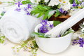 Herbal Spa Set with Mortar and Towel Royalty Free Stock Photography