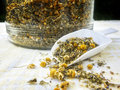 Herbal tea a blend of loose with lavender chamomile and lemon verbena Royalty Free Stock Photos