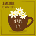 Herbal tea with chamomile flowers. The design of the label