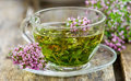 Herbal tea cup of fragrant contains mint thyme and other ingredients the cup is made of transparent glass Royalty Free Stock Image