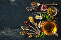 Herbal tea cup of with wild flowers and various herbs Royalty Free Stock Photography