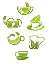 Herbal tea cups with green leaves isolated on white background for drink design Royalty Free Stock Photos