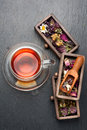 Herbal tea and dried herbs and flowers. top view Royalty Free Stock Photo