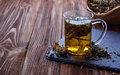 Herbal tea and dried herbs selective focus Royalty Free Stock Image