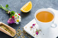 Herbal tea, green tea cup Royalty Free Stock Photo