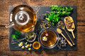 Herbal tea with honey cup of Royalty Free Stock Photo