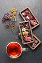 Herbal tea with honey and dried herbs and flowers. top view Royalty Free Stock Photo