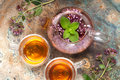 Herbal tea with mint and oregano flowers Royalty Free Stock Photo
