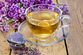 Herbal tea of oregano with strainer in a glass cup metal dry flowers marjoram fresh flowers on the background wooden boards Royalty Free Stock Photo