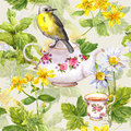 Herbal tea - pot, cup and bird. Repeating pattern. Watercolor