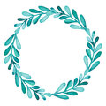 Herbal Wreath With Watercolor Bright Green Leaves
