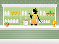 Herbalist shop illustration of woman in Royalty Free Stock Photography