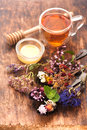 Herbs and herbal tea Royalty Free Stock Photo