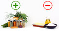Herbs and spices versus fats and oils on white background Royalty Free Stock Photo
