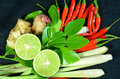 Herbs for thai spicy lemongrass soup ingredients s cuisine tom yum or main ingredients include stem lemon juice galanga root Royalty Free Stock Photos