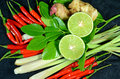 Herbs for thai spicy lemongrass soup ingredients s cuisine tom yum or main ingredients include stem lemon juice galanga root Royalty Free Stock Image