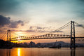 Hercilio luz at sunset the bridge in florianopolis brazil with an amazing Stock Photo