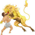 Hercules and the Nemean Lion Royalty Free Stock Photo