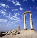 Hercules temple in amman at background the city of amman jordan Royalty Free Stock Image