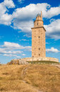 Hercules tower view of the in la coruña galicia spain Stock Image