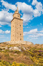 Hercules tower view of the in la coruña galicia spain Stock Images