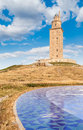 Hercules tower view of the in la coruña galicia spain Royalty Free Stock Photo
