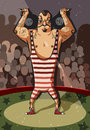 Hercules vector strongman lifts dumbbells in the arena Royalty Free Stock Image