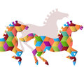 Herd of graphic horses beautiful stylized with geometric pattern Royalty Free Stock Photos