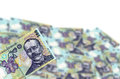 Here is my money romanian lei blurred in white background Royalty Free Stock Images