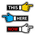 This here now hand pointer labels Royalty Free Stock Photo