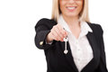 Here is your key cropped image of mature businesswoman stretching out and smiling while standing isolated on white Stock Photo