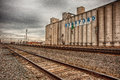 Hereford grain corp and railroad tracks next to the located in texas Royalty Free Stock Image
