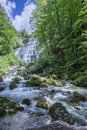 Herisson fall in jura france water mountains Royalty Free Stock Images