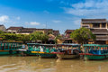 Heritage boat view on the old town of hoi an vietnam unesco world site Royalty Free Stock Image