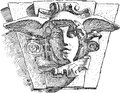 Hermes vector drawing of the head of the god the architectural details on the ancient building Royalty Free Stock Photo