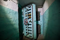 Hermetic door of an abandoned Soviet bomb shelter, an echo of the Cold War Royalty Free Stock Photo