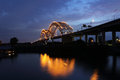 Hernando De Soto Bridge at night in Memphis Tennessee Royalty Free Stock Photo