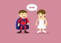 Hero and Damsel Vector Cartoon Illustration