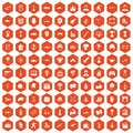 100 hero icons hexagon orange