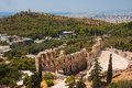 Herodes theater of the acropolis in athens with city at background Royalty Free Stock Images